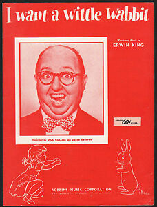 I Want A Wittle Wabbit 1951 Dick Collier Sheet Music