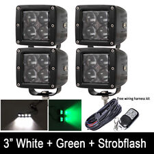 4x 4D Green White Strobe Dual Color Led Work Light 3Inch Cube Pods Wire Harness
