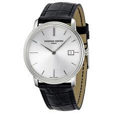 Frederique Constant Slim Line Silver Dial Black Leather Mens Watch 220NS4S6