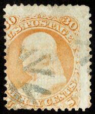 """US Sc# 100 USED { 30c """"F"""" GRILL FRANKLIN } """"SCARCE FROM 1867 SERIES CV$ 950.00"""