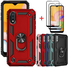 For Samsung Galaxy A01 Case Magnetic Ring Kickstand Full Glass Screen Protector