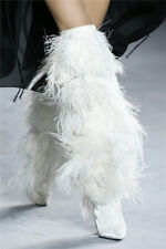 Womens Feather Faux Fur Over Knee Clubwear Boots High Heel Pointed Toe Stilettos