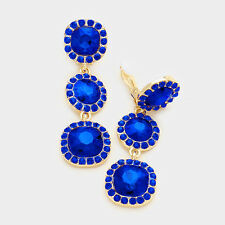 Sapphire blue CLIP ON earrings dangly drop prom bridal gold tone long sparkly