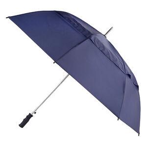totes Auto Open Windproof Double Canopy Umbrella  Navy