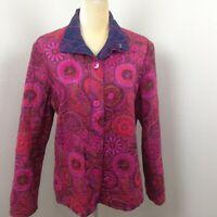 Women's Pink Navy Blue 100% Cotton Reversible Lightweight Button Up Jacket Sz XL