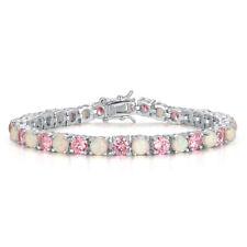 White Fire Opal Pink Topaz Silver for Women Jewelry Gems Chain Bracelet OS374