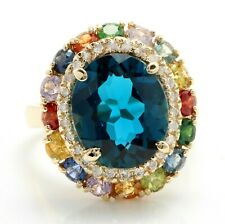 7.60 Ct Natural London Blue Topaz Sapphires and Diamonds in 14K Yellow Gold Ring