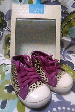The Children's Place 3m-6m Leopard Hi Top Crib Shoes Color Flax EUR 16 NIB NEW