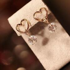 Lovely Women Gold Plated Love Heart Crystal Zircon Dangle Stud Eardrop Earrings