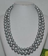35''9-10mm Genuine GRAY TAHITIAN PEARL NECKLACE 14K Gold