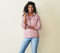 Denim & Co. Comfy Knit Denim Zip-Front Jean Jacket, Rose Blush, L