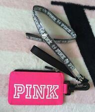 Victoria's Secret Pink Hot Pink Gray Black White Lanyard ID Case Badge Holder