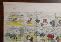 """Disney Studios Original Comic Strip Drawing of """"SCAMP"""" 7/23/78 by Bill Berg"""