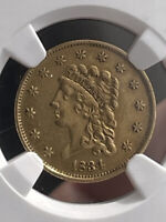 **RARE** 1834 $2.50 Classic Head QUARTER EAGLE GOLD DOLLAR COIN NGC AU Details