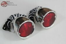 55-59 Chevy Stepside Pickup Truck Rear Tail Lamp Lights Stainless Steel Pair New