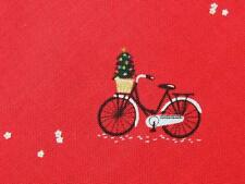 """Christmas Bicycles Bike Red Mini Print Dear Stella Cotton Quilting Fabric 26"""""""