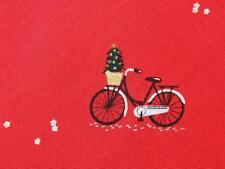 Christmas Bicycles Bike Red Mini Print Dear Stella Cotton Quilting Fabric Yard