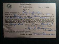 Vintage Texas Fishing License  -1959