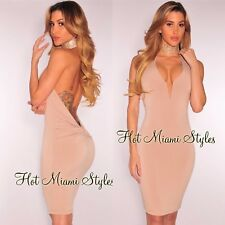 HOT MIAMI STYLES NWT/DEFECT Nude Knotted Low Back Plunge Halter Dress Size M