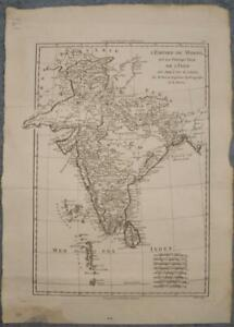 INDIA SRI LANKA PAKISTAN 1788 RIGOBERT BONNE ANTIQUE ORIGINAL COPPER ENGRAVEDMAP