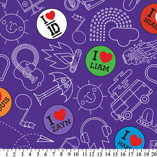 One Direction Doodles Purple Anti-Pill Fleece Fabric By The Yard