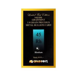 Grainmint 0.25 Grains Pure Rhodium Crystal 99.99% in Numbered Bullion Card