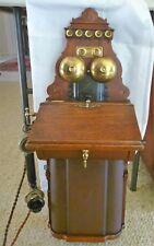 WONDERFUL ANTIQUE ESTATE ERICSSON TIMBER AND BRASS WALL TELEPHONE ORIGINAL C1910