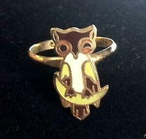 VINTAGE WINKING OWL ADJUSTABLE RING ORIGINAL ENAMEL ART FROM AVIVA EXC 1970'S