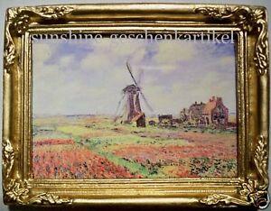 1:12- Bild in feinem Goldrahmen -Blumenfelder m. Mühle