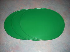 3 GREEN OVAL NUMBER PLATES 9 X11 MOTOCROSS PLASTIC VINTAGE BULTACO YAMAHA AHRMA