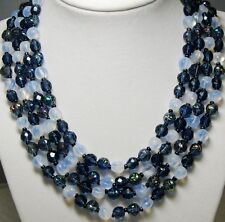 Aurora Borealis /Vaseline Art Glass Bead 4 Strand Bib Necklace West Germany 50's