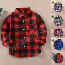 KIDS BOY GIRL PLAID CHECK SHIRT LONG SLEEVE FLANNEL BUTTON DOWN BLOUSE TOP 2-12Y