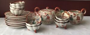 21-piece Antique Japanese Figural Porcelain Sugar Bowl, Creamer, Sauce Bowls Etc