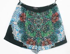 Topshop Blue Green White Red Multi Patterned High Waist Hot Pants Shorts size 8