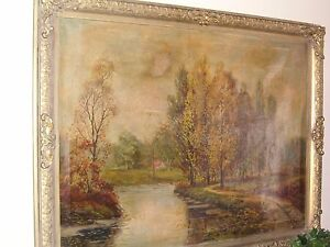 "Fall Scene with Trees & Stream signed by E Redman Oil on Canvas framed 43""x33.5"""