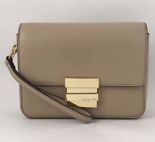 NWT MICHAEL KORS Madelyn Small Leather Clutch Wristlet Bag Bisque/Gold
