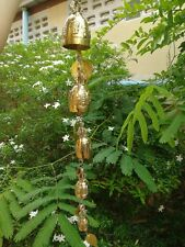 Vintage 5 Small Hanging Mobile Brass Bells Thai Bell Temple Statues Handmade 21""