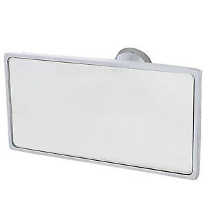 Interior Rectangle Square Chrome Rear View Glass Windshield Mirror Glue On Mount