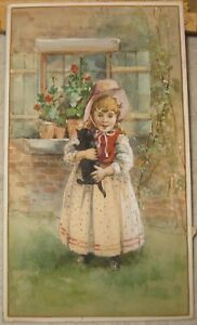 Antique Original YOUNG GIRL w Black CAT Victorian TRADE CARD PAINTING - Listed?