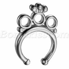 Women's Stainless Steel Rhinestone Crown Fake Nose Ring Studs Nail Hoops Clip on