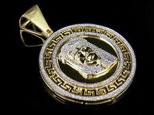 "Mens 10K Yellow Gold Genuine Diamond Bismark Medallion Jesus Pendant 1/2 Ct 1.6"""