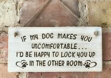 ** Handmade Dog Sign Plaque In A White Wash Finish ** Wood Burning Pyrography **