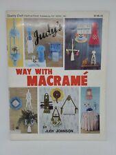 Judys Way With Macramé #Pd-1045: 64 Patterns Home Christmas Decor Vintage 1979