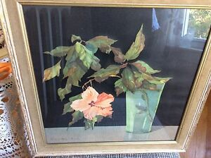 Vintage Framed still life of hibiscus on canvas Artist Nelly Littlehead repro