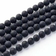Grade A Frosted Black Agate Glass Loose Beads 6mm Round