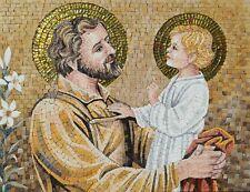Religious Mosaics - Baby Jesus and Saint Joseph Religious Mosaic Tile