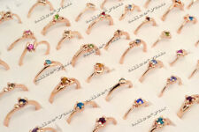 5Pcs Wholesale Jewelry Bulk Mixed Gold Plated Fashion Rhinestone Rings FREE
