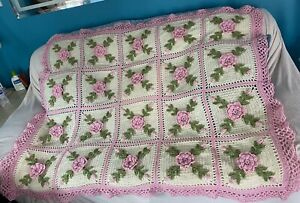 Crocheted Pink Rose Afghan Throw -  Made Fresh After Sale - 20 Squares