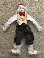 Vintage Ganz Clown Doll Porcelain Head Hands Feet Shelf Sitter