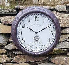 Outdoor indoor Garden Wall Clock TERMOMETRO Misuratore 30cm 12 pollici, colore ruggine